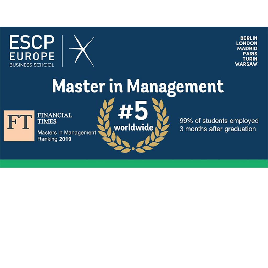 ESCP Europe foi classificada em 5ª lugar pela Financial Times Master in Management Ranking 2019.